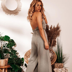 F1033 Backless Jumpsuit In Olive
