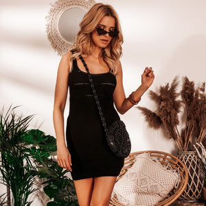 F1039 Strap Mini Dress In Black