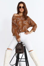 103-06 Dog Print Oversize Sweatshirt In Camel