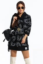 104-6 Animal Print Hooded Long Sweatshirt/Tunic In Black
