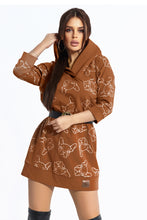 104-7 Animal Print Hooded Long Sweatshirt/Tunic In Camel