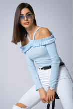 107-05 Cotton-Blend Off The Shoulder Blouse In Blue