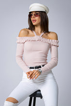 107-12 Cotton-Blend Off The Shoulder Blouse In Pink