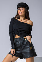 108-06 Cotton-Blend Drawstring Front Tie Blouse In Black