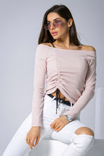 108-12 Cotton-Blend Drawstring Front Tie Blouse In Pink