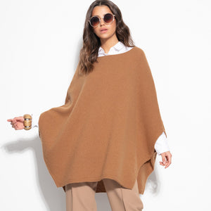 F1108 Oversized Wool Poncho In Carmel