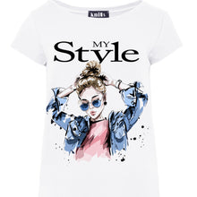 K465 My Style Print Asymmetrical T-Shirt In White