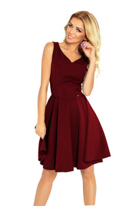114-11 Fit & Flare Mini Dress In Burgundy