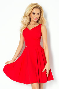 114-3 Red Sleeveless Skater Dress