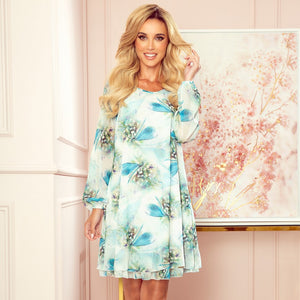 319-1 Chiffon Layered Mini Dress In Dragonflies Print