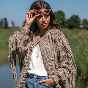 F1089 Oversized Chunky Knit Tassel Alpaca-Blend Cardigan In Brown