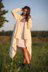 F1109 Oversized Cable-Knit Belted Cardigan In Ecru