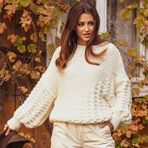F1125 Alpaca-Blend Oversized Chunky Knit Sweater In Ecru