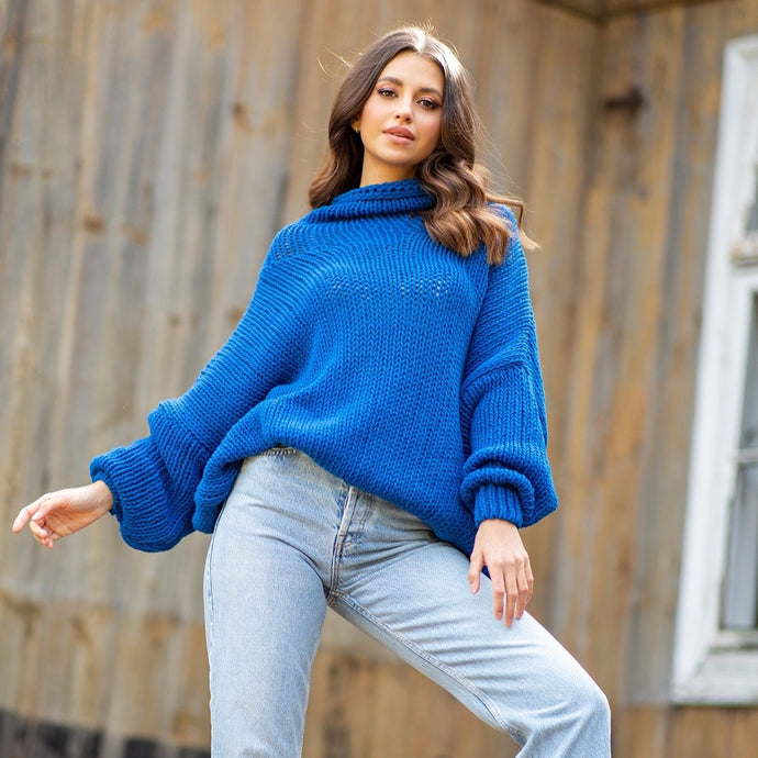 F1128 Merino-Wool Turtleneck Sweater In Blue