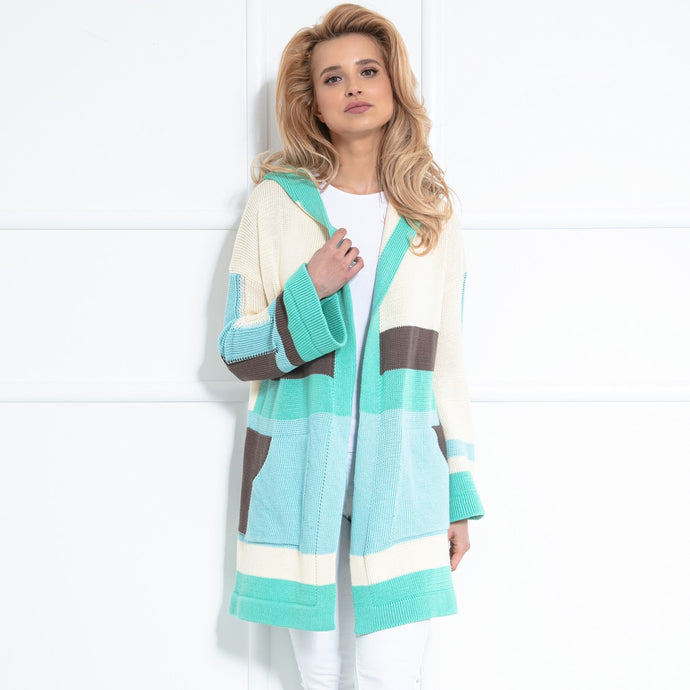 F1040 Hooded Long Cardigan With Pockets In Green