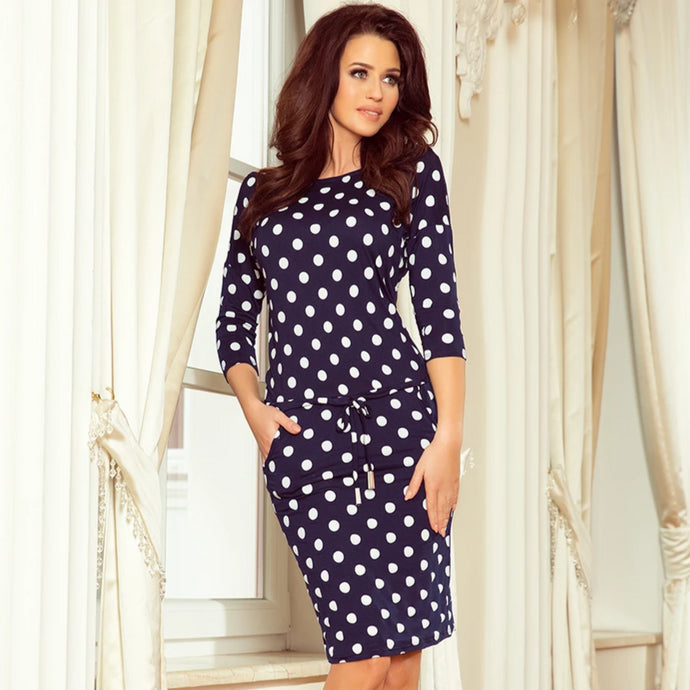 13-101 Polka-dot Drawstring Waist Knee-Length Dress In Navy