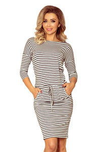 13-102 Striped Drawstring Waist Knee-Length Dress In Grey/White