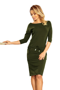 13-103 Drawstring Waist Cotton Dress In Khaki/Green
