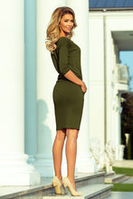 13-104 Drawstring Waist Knee-Length Dress In Khaki/Green