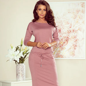13-105 Drawstring Waist Knee-Length Dress In Dusty Pink