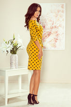 13-106 Polka-dot Drawstring Waist Knee-Length Dress In Mustard