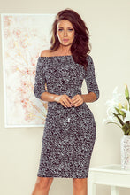 13-107 Drawstring Waist Words Pattern Knee-Length Dress In Black