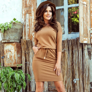13-108 Drawstring Waist Midi Dress In Brown