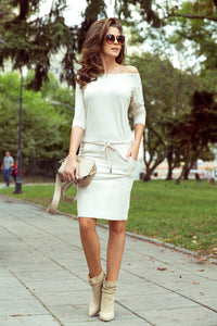 13-109 Drawstring Waist Knee-Length Dress In Beige