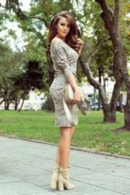 13-110 Leopard Print Drawstring Waist Knee-Length Dress In Beige