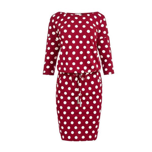 13-111 Polka-dot Drawstring Waist Knee-Length Dress In Burgundy