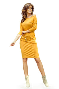 13-112 Drawstring Waist Knee-Length Dress In Yellow