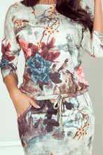 13-115 Drawstring Waist Floral/Birds Pattern Knee-Length Dress In Grey