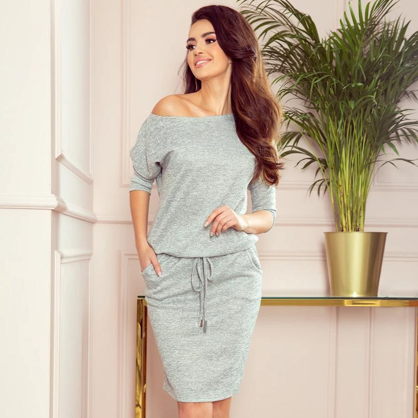 13-117 Drawstring Waist Knee-Length Dress In Gray