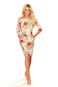 13-121 Drawstring Waist Floral Print Knee-Length Dress In Beige