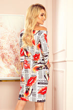 13-122 Drawstring Waist Newspaper Print Knee-Length Dress In White/Red