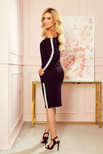 13-124 White Strip Drawstring Waist Knee-Length Dress In Black