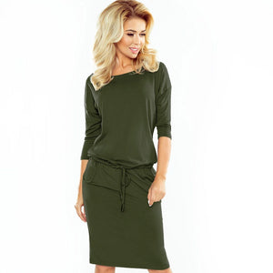 13-76 Drawstring Waist Knee-Length Dress In Khaki/Green