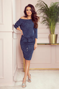 13-77 Drawstring Waist Knee-Length Dress In Navy