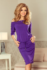 13-82 Drawstring Waist Knee-Length Dress In Purple