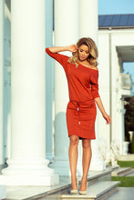 13-84 Drawstring Waist Dress Knee-Length Dress In Orange