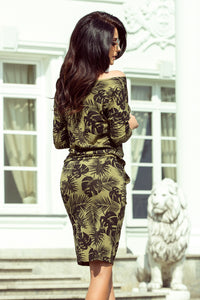 13-85 Leaves Print Drawstring Waist Knee-Length Dress In Khaki/Green