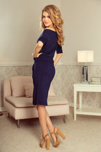 13-89 Polka-dot Drawstring Waist Knee-Length Dress In Navy Blue