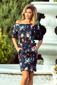13-91 Floral Drawstring Waist Knee-Length Dress In Navy