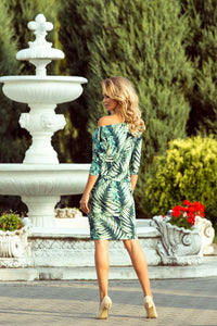 13-92 Leaves Print Drawstring Waist Knee-Length Dress In Green