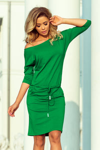 13-95 Drawstring Waist Knee-Length Dress In Green