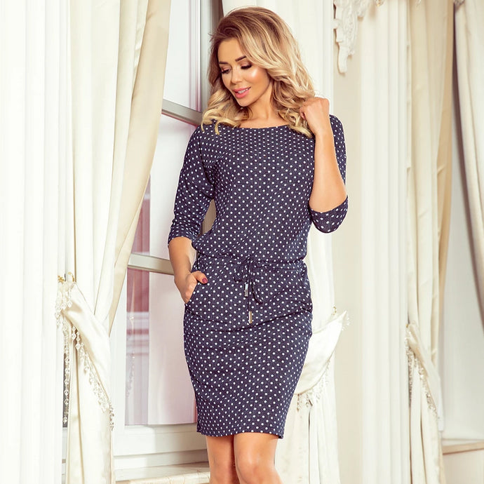 13-97 Polka-dot Drawstring Waist Knee-Length Dress In Navy