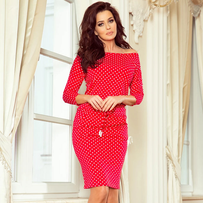 13-98 Polka-dot Drawstring Waist Knee-Length  Dress In Red