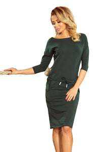 13-99 Drawstring Waist Cotton Dress In Green