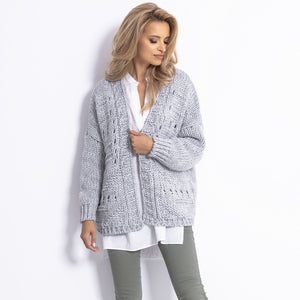 F779 Chunky Knit Oversized Short Alpaca-Blend Cardigan In Grey