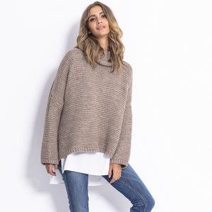 F811 Alpaca-Blend Turtleneck Sweater In Brown